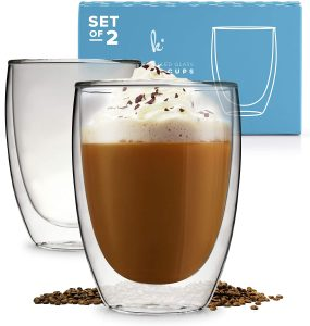 Best Glass Coffee Mugs without handle by Kitchables(set of 2,12oz)